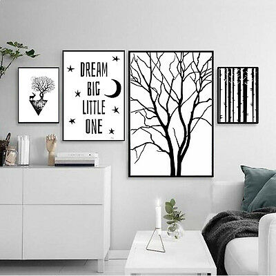 Deer Tree Canvas Poster Nordic Abstract Minimalism Art Print Modern Wall -