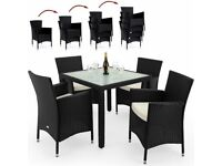 **FREE UK DELIVERY** German Made 4 Seater Poly Rattan Garden Set with Stackable Chairs