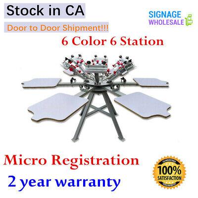 Manual 6 Color 6 Station Micro Registration Tshirt Screen Printing Press Machine
