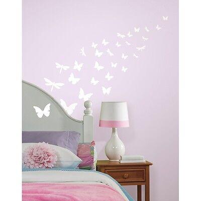 79 New GLOW IN THE DARK BUTTERFLIES & DRAGONFLIES WALL DECALS Butterfly Stickers - Glow In The Dark Wall Decals