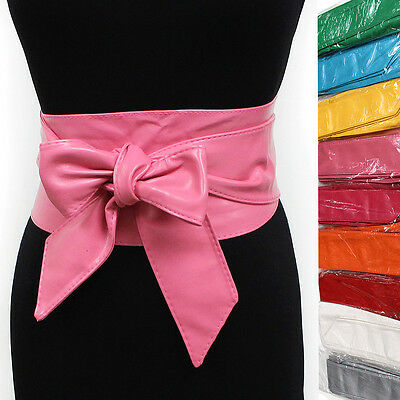 Sexy Faux Leather Tie Corset Wide Kimono Wrap Cinch Waistband Obi Bow Belt Long