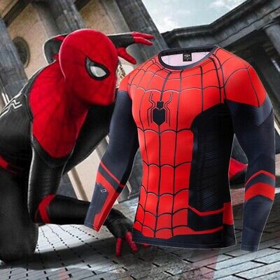Marvel Avengers Spiderman Ironman long Sleeve T-Shirts Costume Play Compression