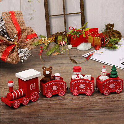 3pk Christmas Train Decorative Gift Set Cute Wooden Mini Train Figurine Decorati