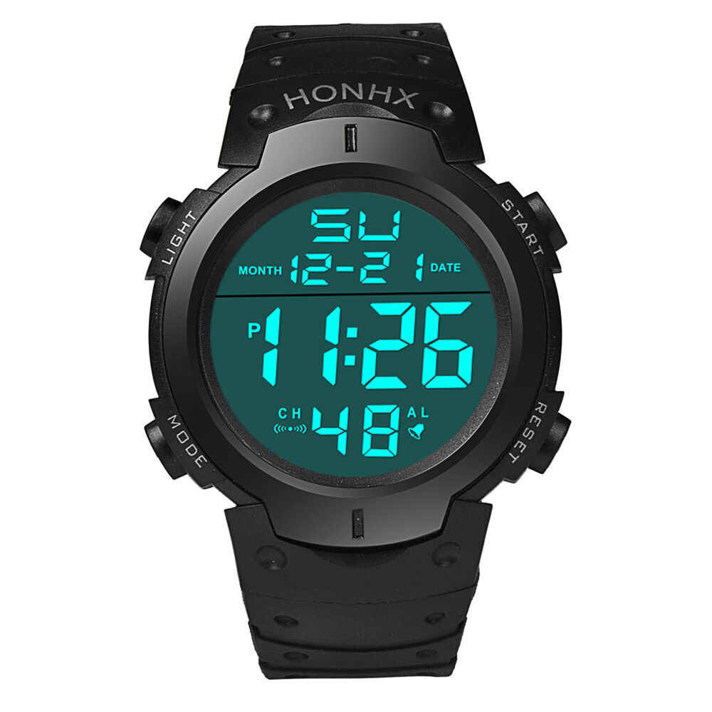 Waterproof Men's Boy LCD Digital Stopwatch Date Rubber Sport Wrist Watch mt