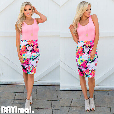 Womens Floral Sleeveless Midi Dress Ladies Casual Holiday Party Bodycon Dress UK