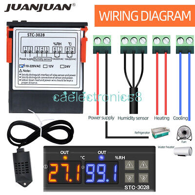 Digital Ac110-220v Stc-3028 Dual Lcd Temperature Humidity Controller Thermostat
