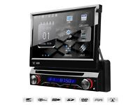 """7"""" Motorised Flip Out HD Screen Car Radio DVD Player With GPS Bluetooth USB SD Aux-in Stereo"""