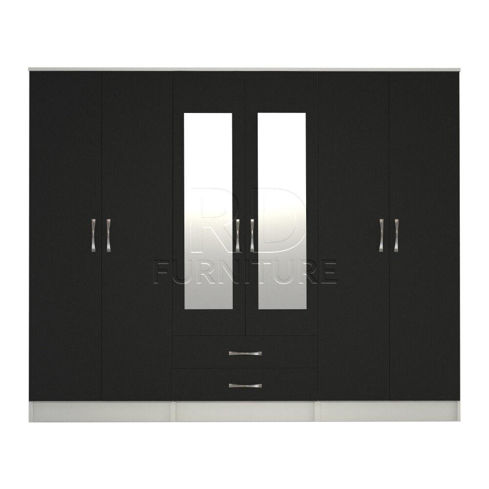 Cornwall model 4, 216cm wide 6 door white and black wardrobe
