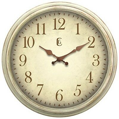 4675G Geneva Clock Co. 16 Plastic Antique White Analog Wall Clock - Refurbished