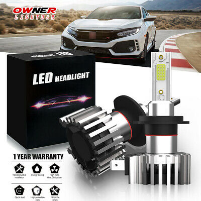 H7 LED Headlights Bulbs Kit High/Low Beam HID Super Bright 6500K Xenon
