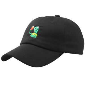 Kermit Tea Hat The Frog Sipping Drinking Tea Baseball Dad Visor Cap Emoji NEW