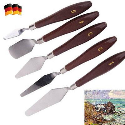 5x Edelstahl-Palettenmesser Farbspachtel Schaber Spatel Kit für Ölgemälde-Messer