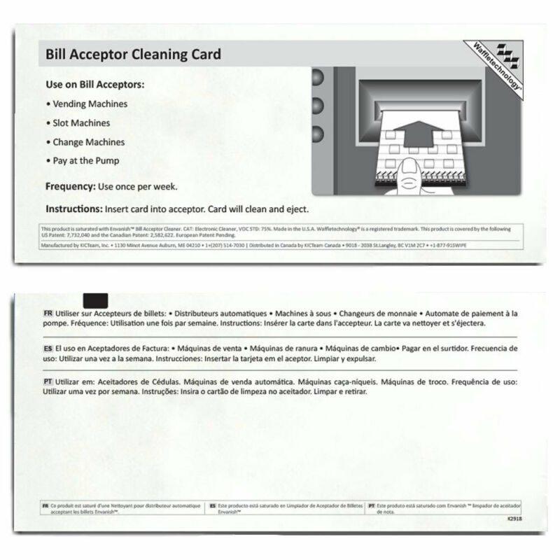 Lucky Stripe Bill Acceptor Waffletechnology® Cleaning Cards - Pack of 15