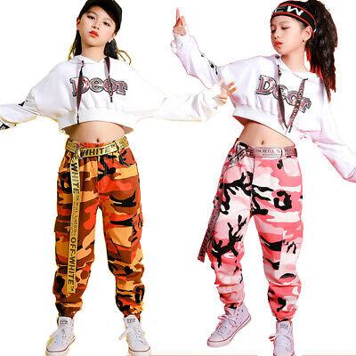 Kinder Jazz Hip-Hop Dancewear Kindertanz Mädchen Camouflage Kostüme Top&Hosen