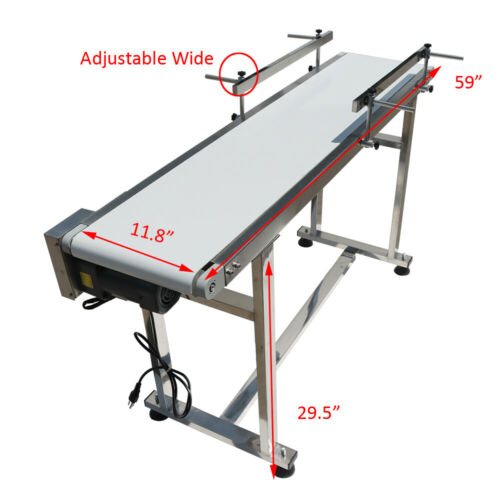"""59"""" x 11.8"""" Conveyor Belt  With Guardrails Adjustable Speed Smoth PVC Stainless"""