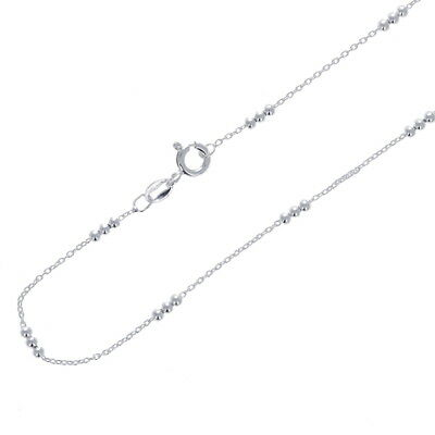 .925 Sterling Silver Necklace, Triple Beaded Chain, Small Cable Design, ROSF030 Design Sterling Silver Necklace