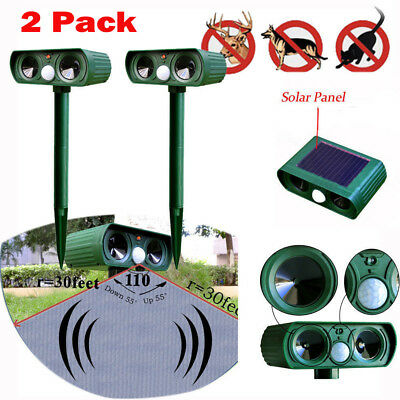 2 Pcs Ultrasonic Solar Power Pest Animal Repeller Repellent Garden Cat Dog SL