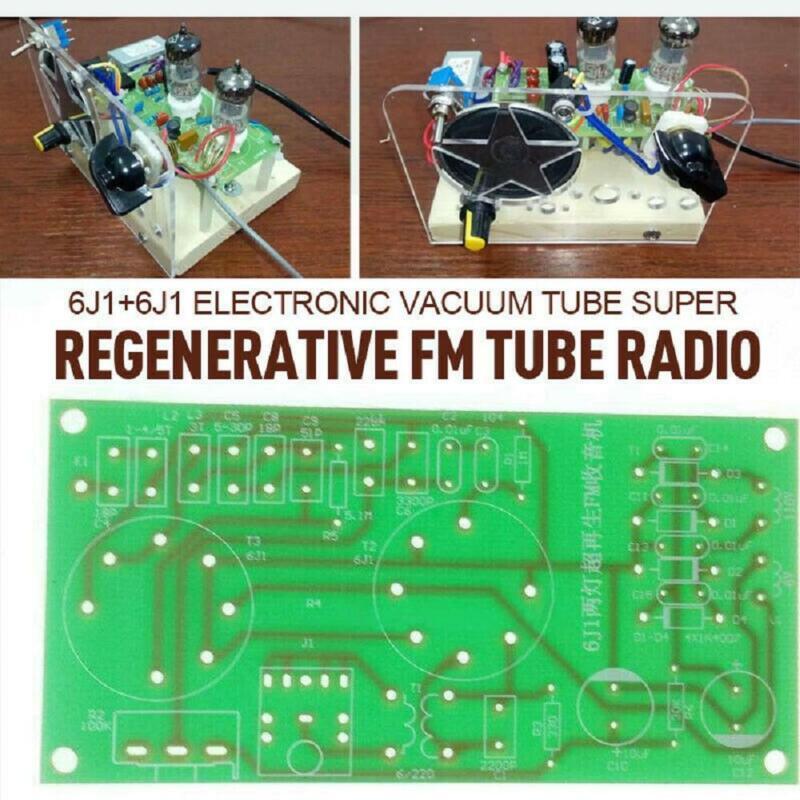 110V Electronic Vacuum Super Regenerative FM Tube Radio Receiver Kit 2 Tube