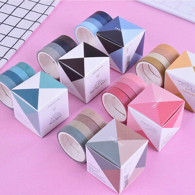 4 Rolls Solid Color Washi Paper Tape - Self Adhesive 3m Crafts Decorative Label