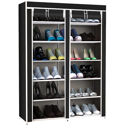 Zapatero Doble con Cubierta de Tela 6 Alturas Estantes Organizador Zapatos