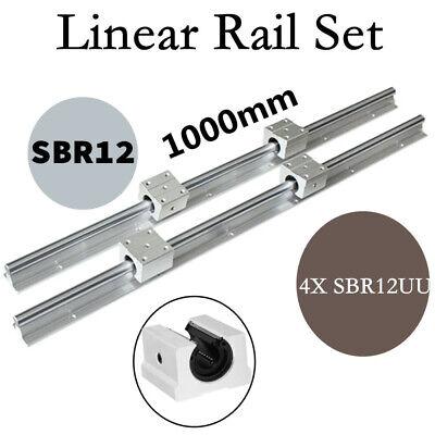 Sbr12-1000mm Linear Rail Slide Guide Shaft Rod 4x Sbr12uu Bearing For Cnc Diy