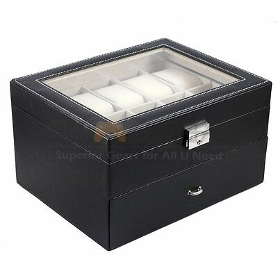 20 Slot Watch Box Leather Display Case Organizer Top Glass Jewelry Storage (Display Case 20 Slot)