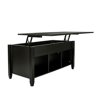 Lift-up Top Coffee Table w/Hidden Storage Compartment & Shelf Black 2