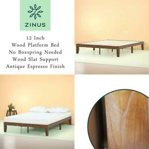 NEW Zinus 12 Inch Wood Platform Bed / No Boxspring Needed / Wood Slat Support / Antique Espresso Finish, Full Condtio...