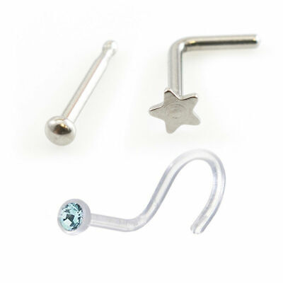 3 Nose L-shape Star Nose Bone Ball End & Screw Jewel Retainer 22g Surgical Steel