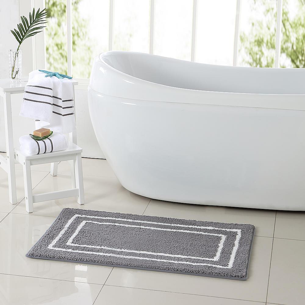 Guest Bathroom 3pc bath Rug and Towel Set Color Grey /White