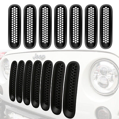 7Pcs Upgrade Clip Insert Mesh Grille Grill Cover For Jeep Wrangler JK 2007-2015