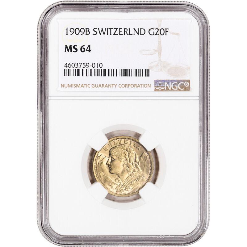 1909 B Switzerland Gold 20 Francs - NGC MS64