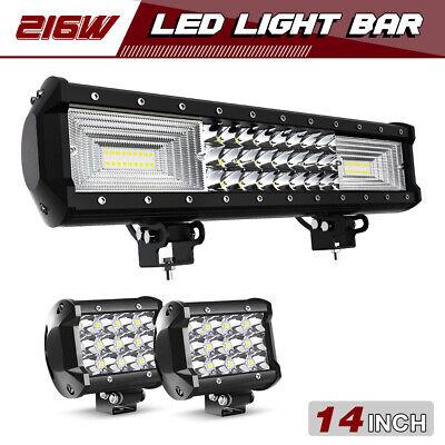 "14INCH 90W LED LIGHT BAR SPOT FLOOD COMBO FIT SUV 4WD CAR BOAT OFF-ROAD 14/""15/"""