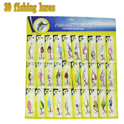 Lot of 30 Trout Spoon Metal Fishing Lures Spinner Baits Bass Tackle Colorful NEW