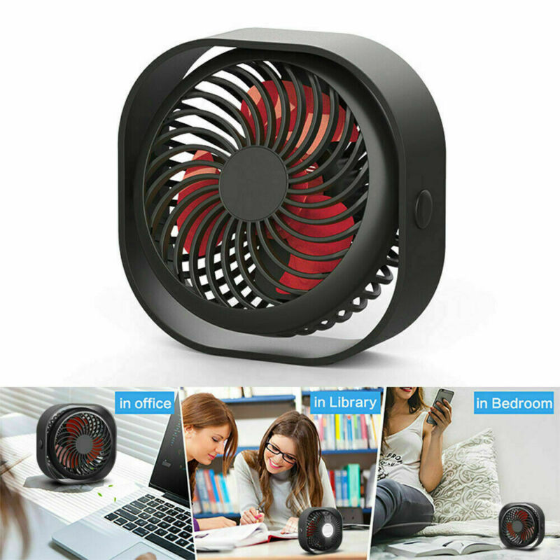 Mini Desk Fan Portable Table Desktop Cooler 3 Speed Small Quiet USB Rechargeable