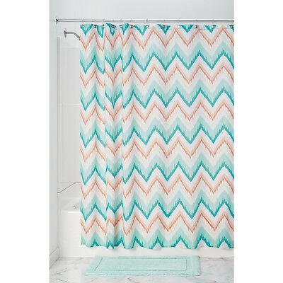 InterDesign Ikat Chevron Fabric Shower Curtain, - Coral Chevron