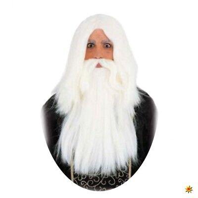 Weiße Kostüm Bart (Magier Perücke mit Bart weiß Kostüm Zauberer langer Bart lange Haare Fantasy)