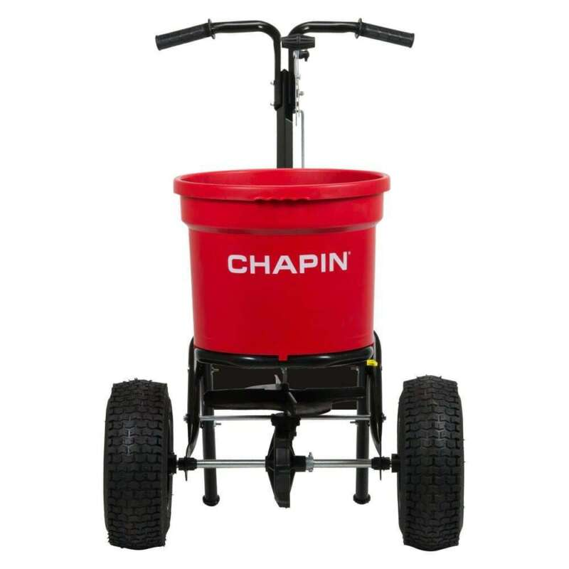 Chapin Turf Spreader Solid Steel Frame Linkage Adjustable Rotary Gate 70 lb. Cap