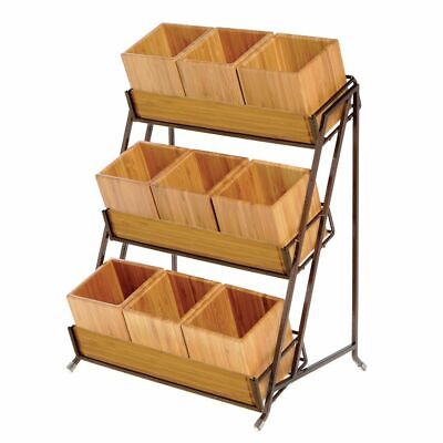 Hubert 3-tier Espresso Metal Condiment Organizer With Bamboo Inserts - 13l X