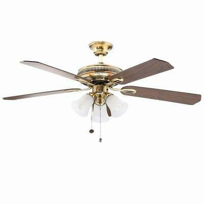 New Hampton Bay Glendale 52 in. Indoor Flemish Brass Ceiling Fan with Light Kit