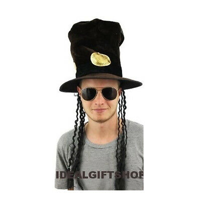 80'S GUITAR MAN HAT WITH HAIR + GLASSES HEADPIECE FANCYDRESS HALLOWEEN MUSIC
