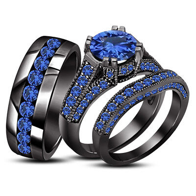 Trio Wedding Ring His And Hers Bridal Bands Set Blue Sapphire Black Gold