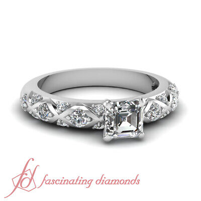 .85 Ct Asscher Cut Diamond Rings For Women With Round Side S