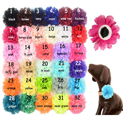 1Pc Gold Dot Chiffon Flower Dog Collar Accessories Wedding Party Pet Slide Bows - Dog Wedding Collar