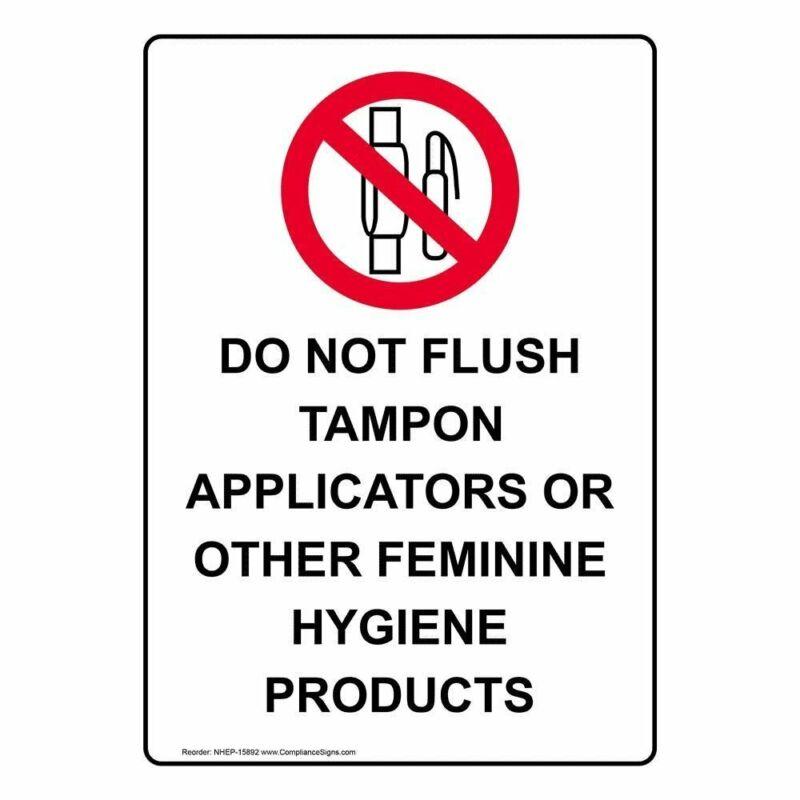 ComplianceSigns Vertical Vinyl Do Not Flush Tampon Applicators Labels, 5 x...