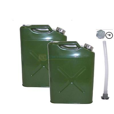 2 Jerry Can 5 Gallon 20L Gas Fuel Army NATO Military Metal Steel Tank Holder RED
