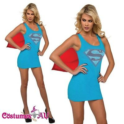 Ladies Halloween Rubie's Gotham Supergirl Superhero Fancy Dress Costume Outfits