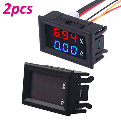 2pc Dc 100v 10a Led Dual Digital Voltmeter Ammeter Bluered Volt Amp Meter Gauge