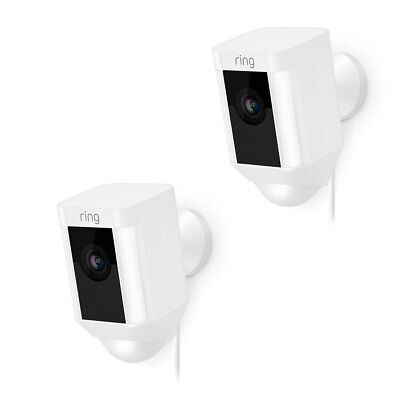 2 Pack Ring Spotlight Cam Wired Security Camera 8SH1P7-WEN0 - White - Brand New