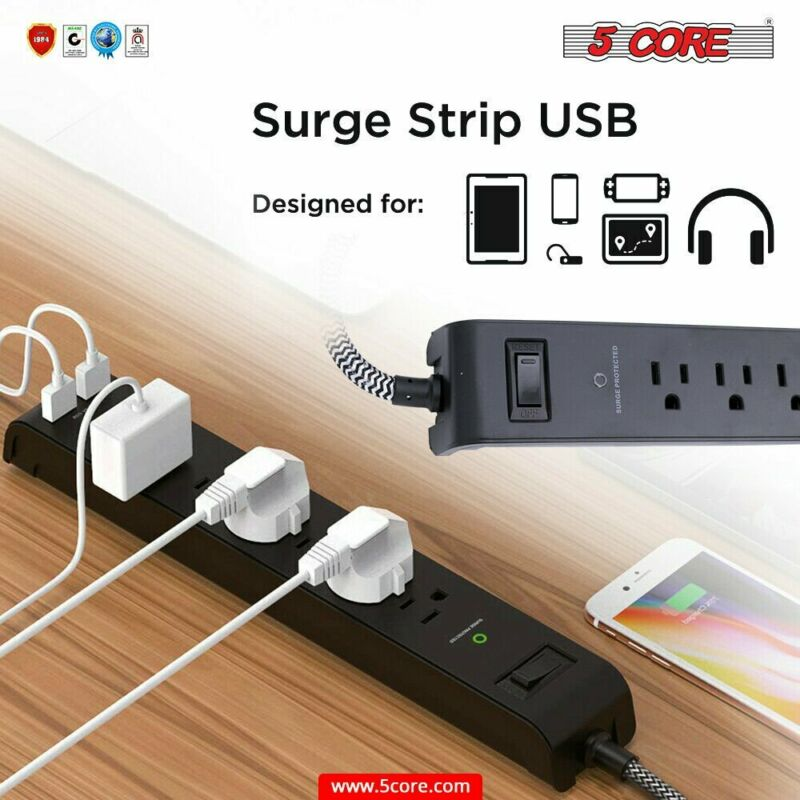 6 Outlet 2 USB Power Strip Surge Protector 6.5 Ft Extension Cord Rght Angle Plug